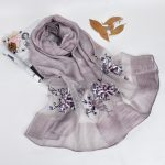 Silk scarf with floral embroidery - Light Grey
