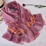 Silk scarf with embroidery - Violet