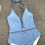Ice-blue swimsuit with tie-belt