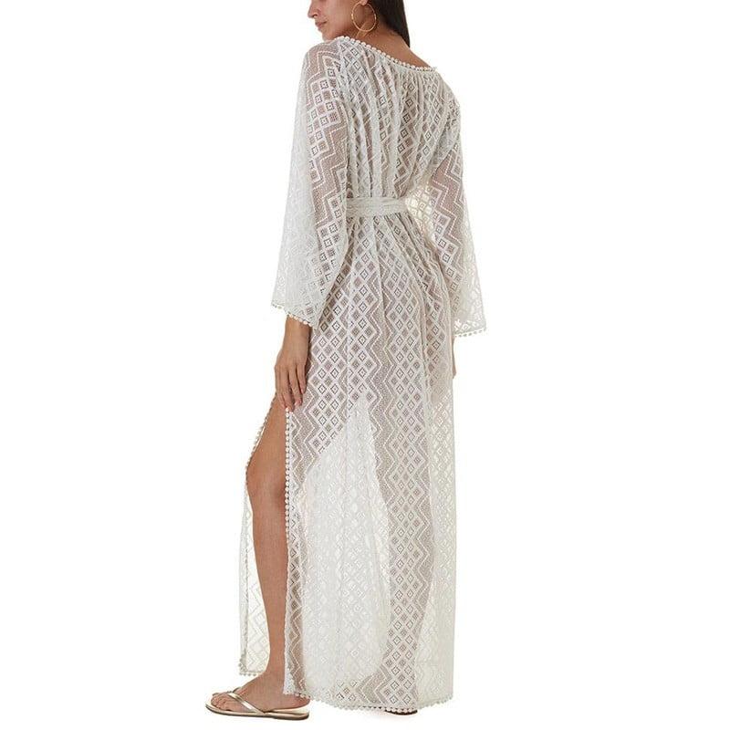 Long sleeves lace kaftan with side split