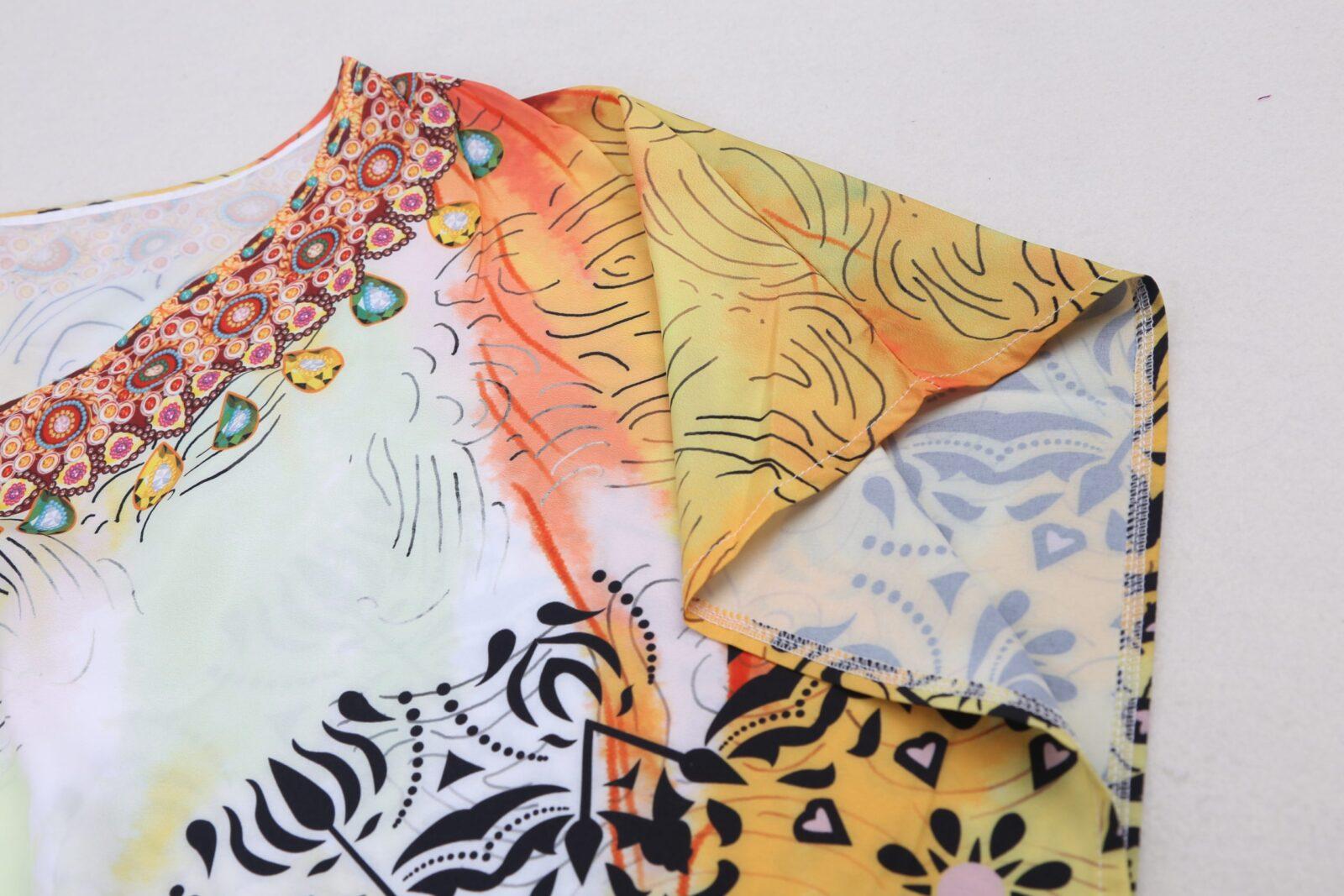 Multi-colour floral print kaftan