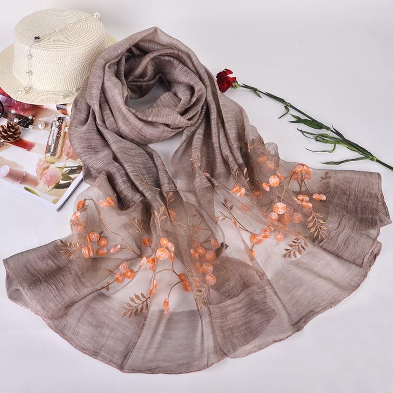 Silk scarf with embroidery - Warm Grey