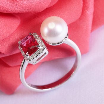 Round Pearl & Stone Ring