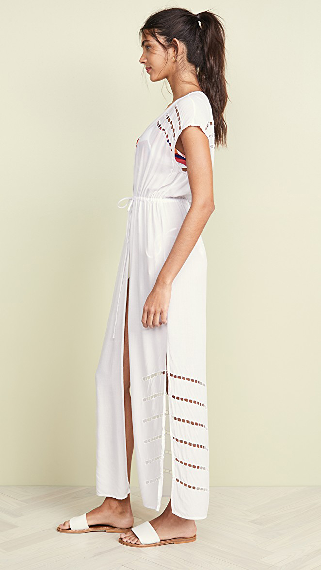 Embroidered white kaftan with side split