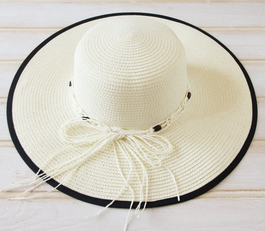 Classic large brimmed hat with straw ribbon & beads