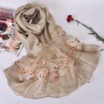 Silk scarf with embroidery - Dark Beige