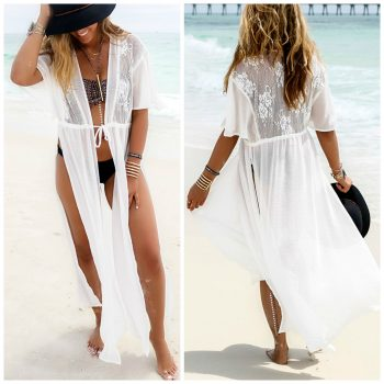 Beach cover-up with crochet design