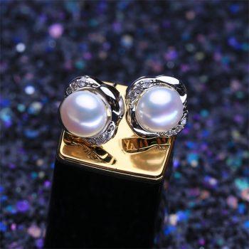 Button Pearl Earrings