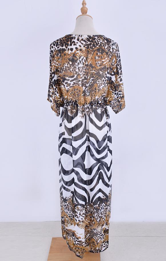 Stylish chiffon zebra leopard print kaftan