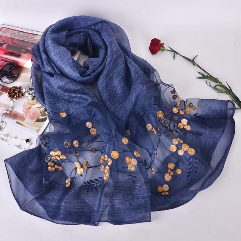 Silk scarf with embroidery - Dark Blue