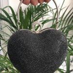 Heart shape crystal clutch bag