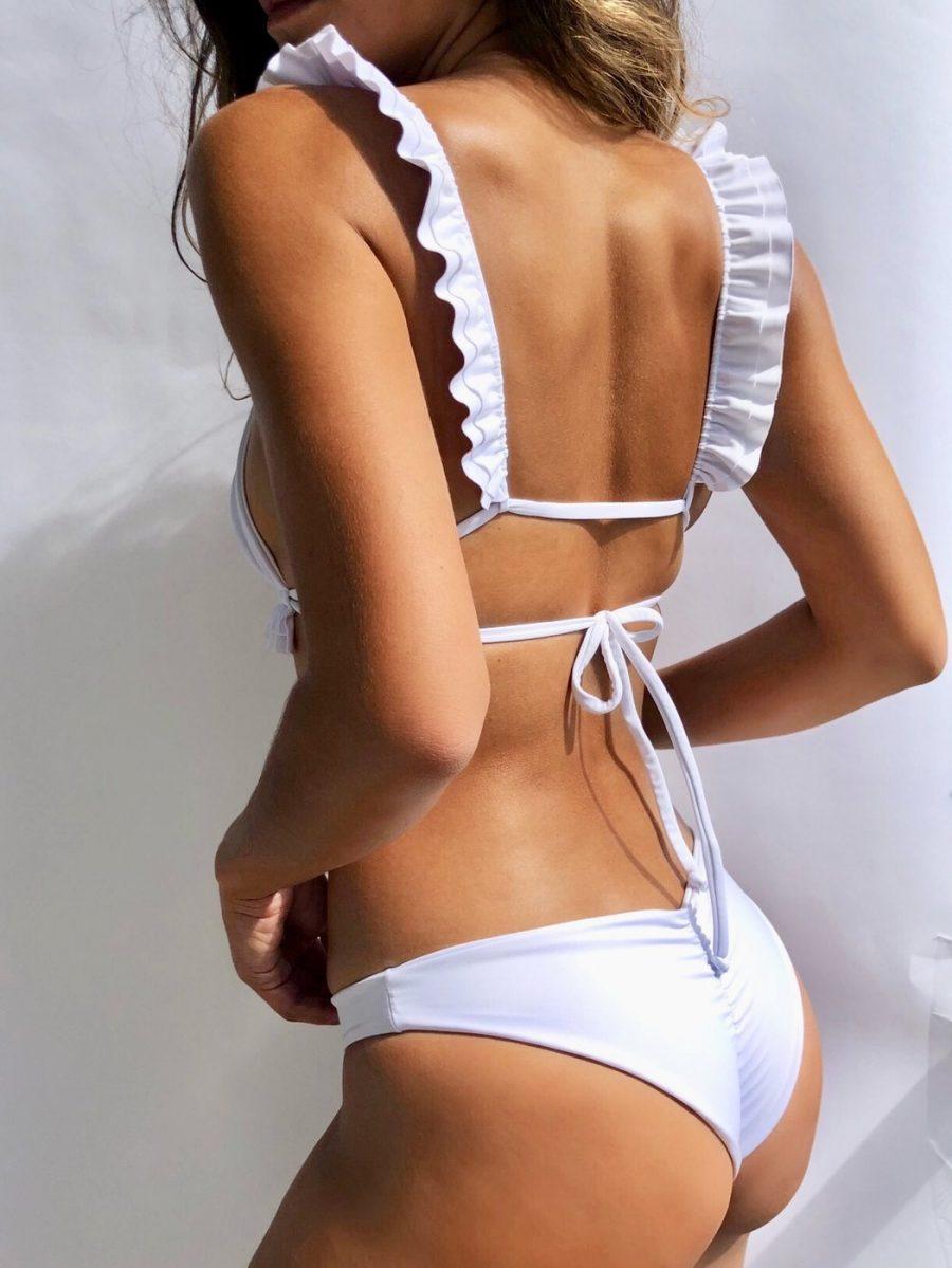 Classic white bikini with ruffle