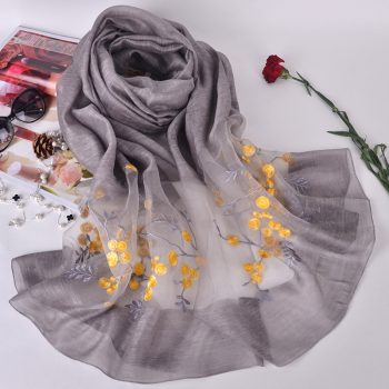 Silk scarf with embroidery - Light Grey