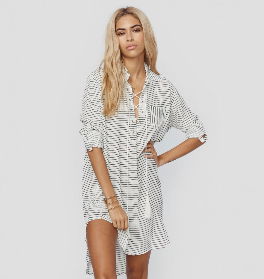 Striped beach cover-up