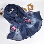 Silk scarf with floral embroidery - Dark Blue