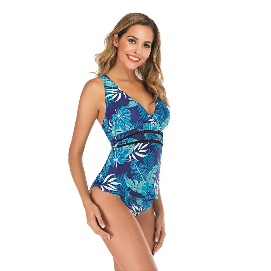 Two piece blue flower swimsuit
