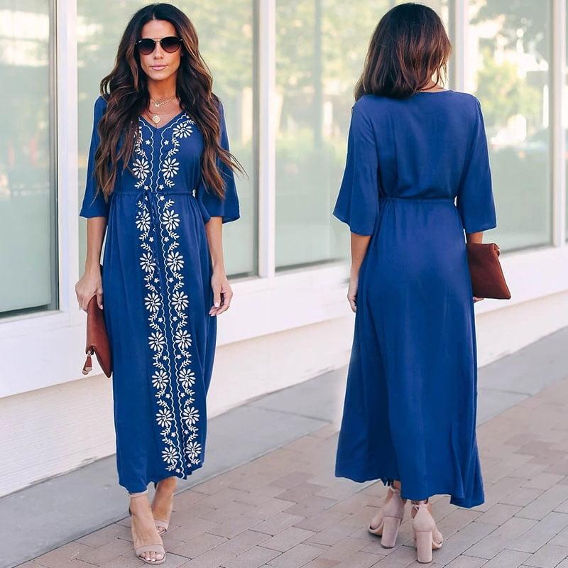 Embroidered blue kaftan