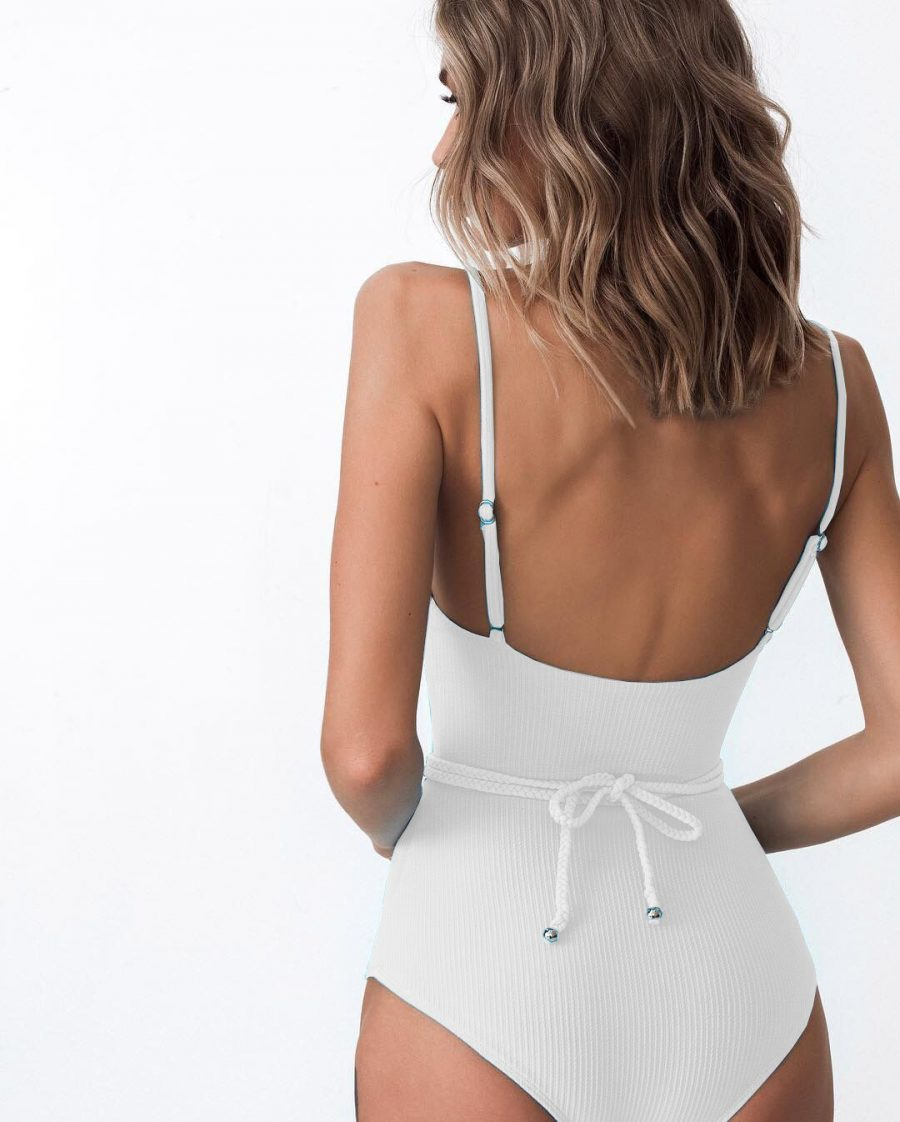 White swimsuit with tie-belt
