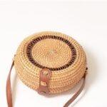 Full-moon rattan bag