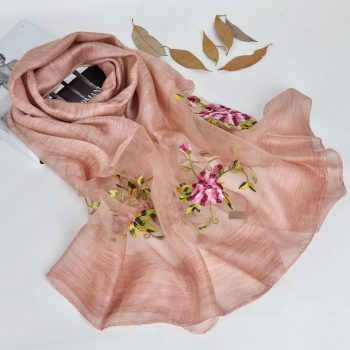 Silk scarf with floral embroidery - Baby Pink