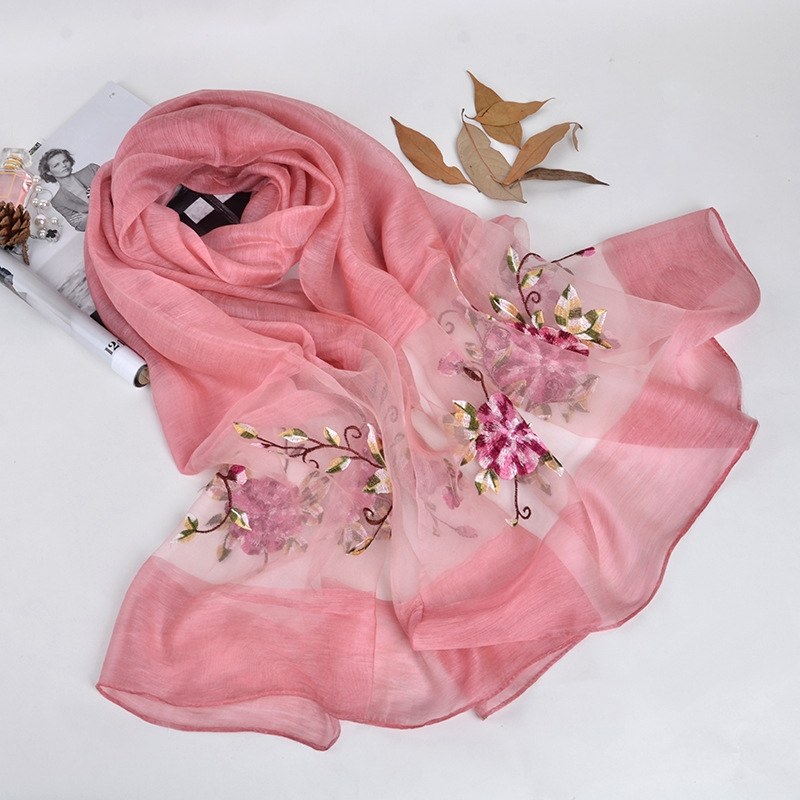 Silk scarf with floral embroidery - Pink