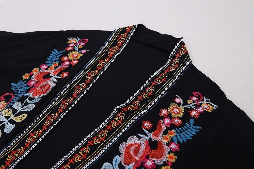 Embroidered black kaftan