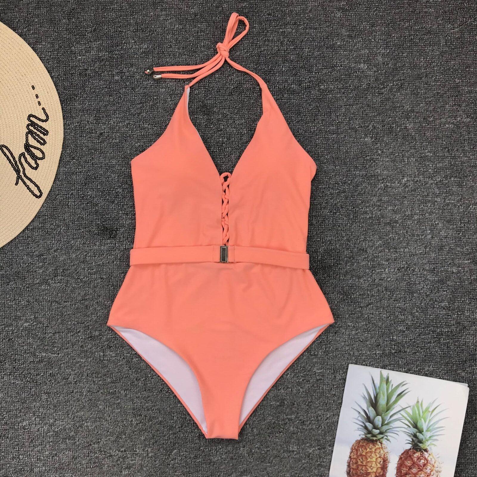 Orange swimsuit with tie-belt