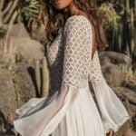 Lace kaftan with ruffled sleeves