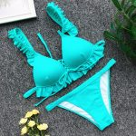 Blue bikini with ruffle