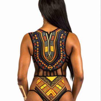 Black & gold tribal swimsuit