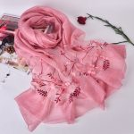 Silk scarf with floral embroidery - Candy Pink