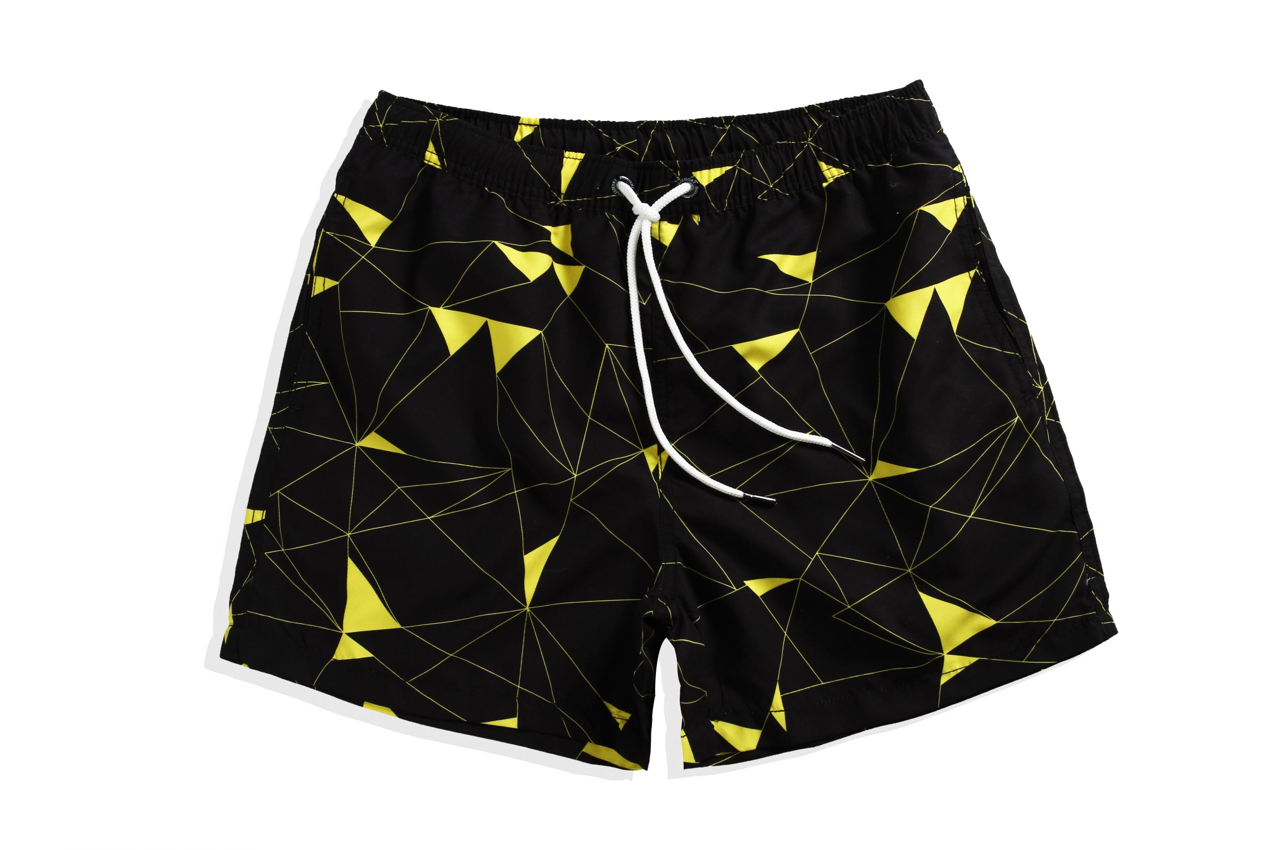 Black with yellow pattern men's trunks