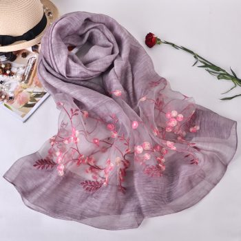 Silk scarf with embroidery - Light Purple