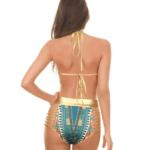 Green triangle tribal bikini