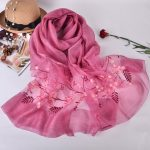 Silk scarf with embroidery - Dark Pink