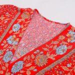 Red floral kaftan