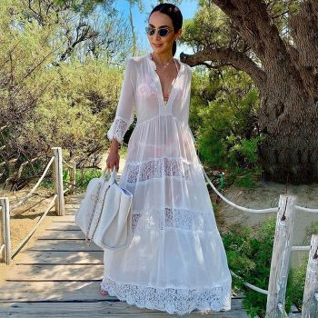 White kaftan with lace