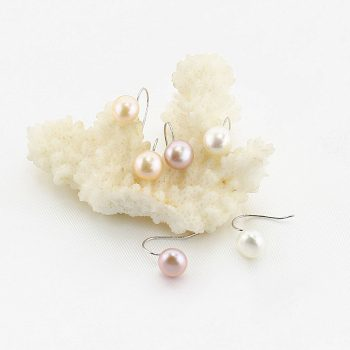 Button Pearl Earrings with 925 sterling silver