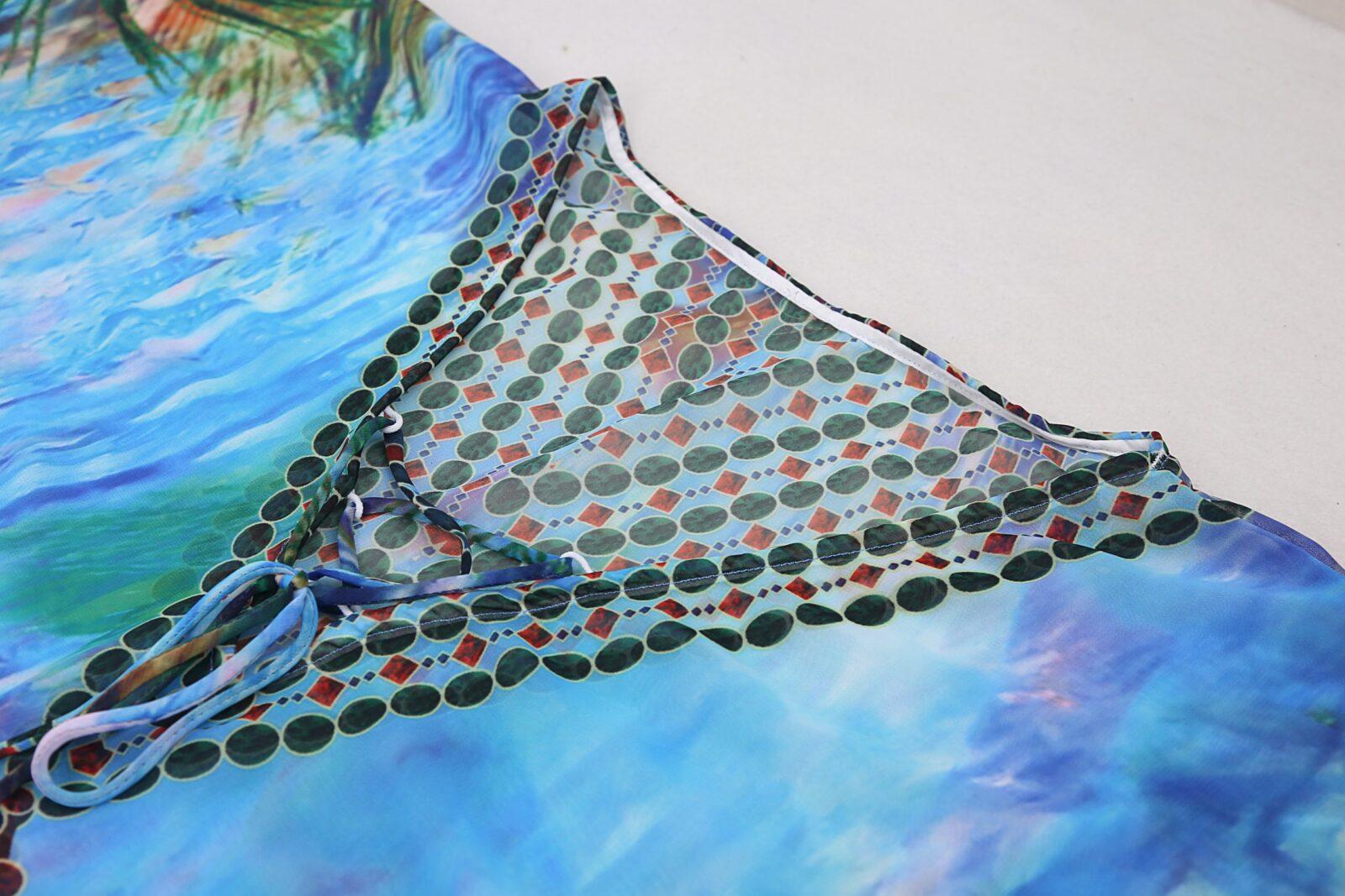 Peacock feather kaftan