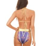 Purple & gold triangle tribal bikini
