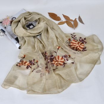 Silk scarf with floral embroidery - Gold Beige