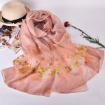 Silk scarf with floral embroidery - Blush