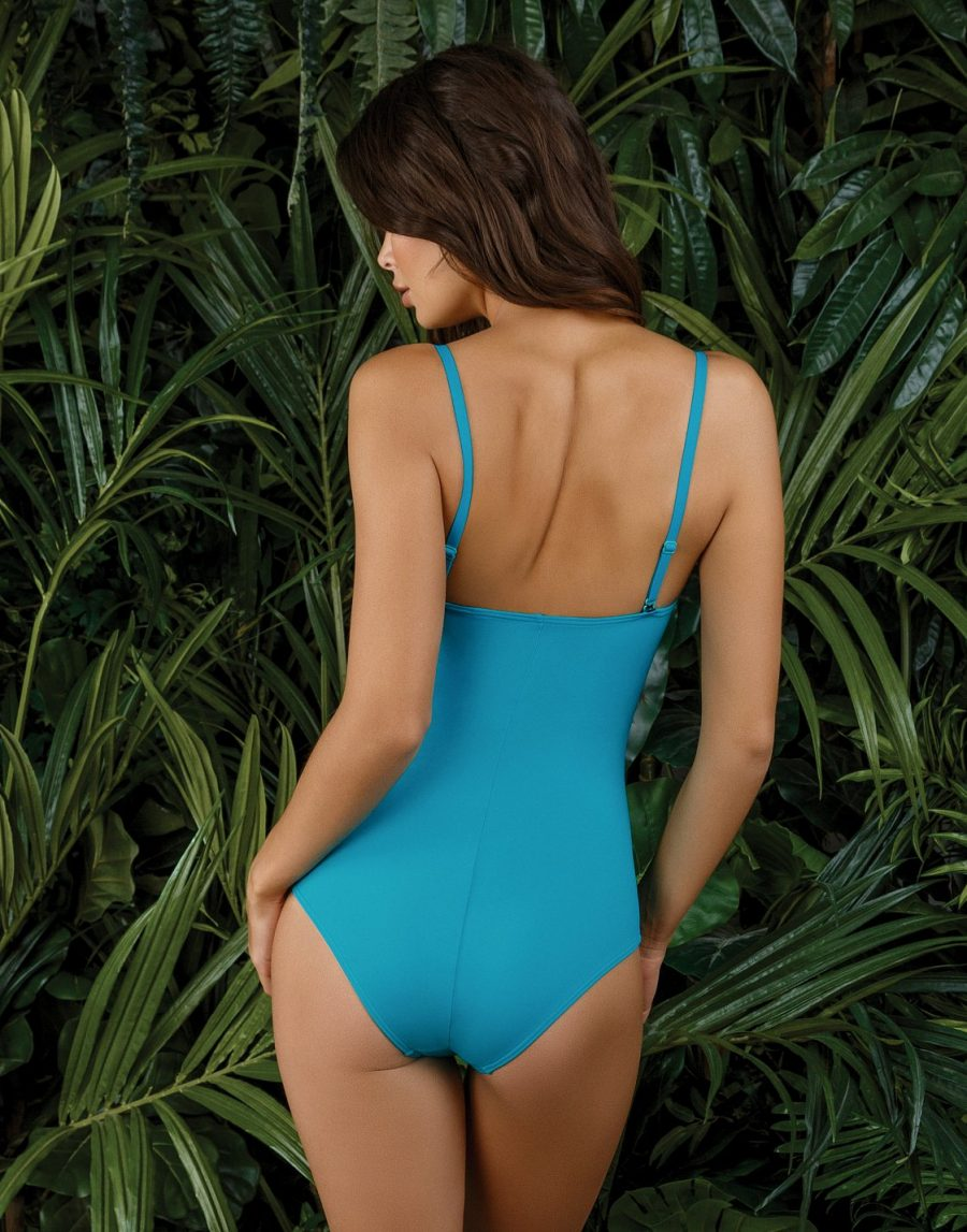 Blue swimsuit with tie-belt