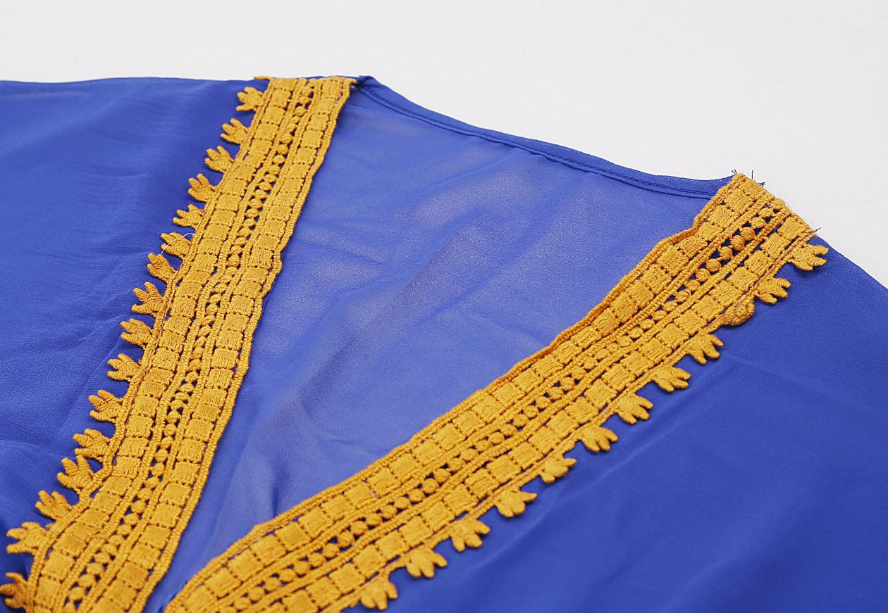 Blue kaftan with border embroidery