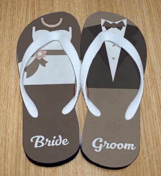 Bride Groom flip flops