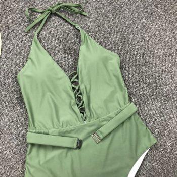 Green swimsuit with tie-belt