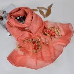 Silk scarf with floral embroidery - Coral
