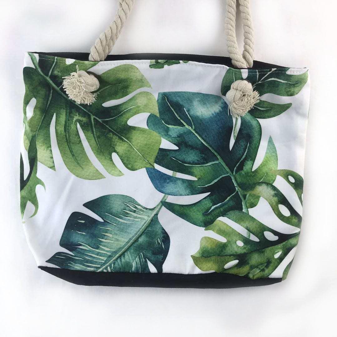 Large green leaves beach bag