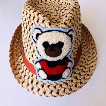 Brown hat with red bear embroidery