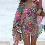 Multi-colour beach cover-up